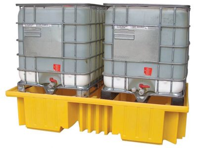 This IBC spill pallet is designed for use with 2 x 1000ltr IBCs. With integral support columns rather than decking it is manufactured from polyethylene for total corrosion protection and broad chemical compatibility. Base fork pockets provided easy loading onto a forklift truck. Most importantly, this products meets legislation ensuring your compliance with UK, EC and Worldwide regulations.